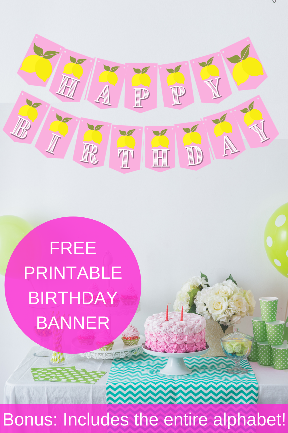 lemonade themed birthday party décor for first birthday party