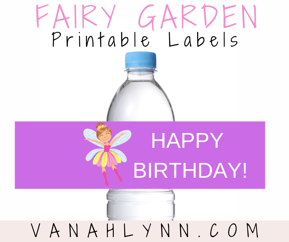 fairy garden water bottle label for a kids birthday party