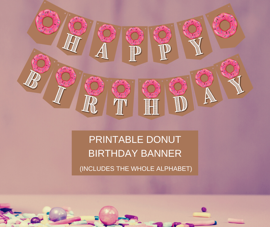 donut themed happy birthday banner for a little girl's birthday party