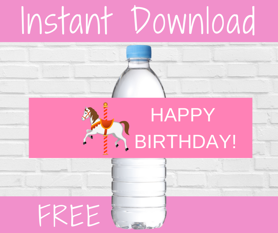 carousel themed water bottle label for a birthday party