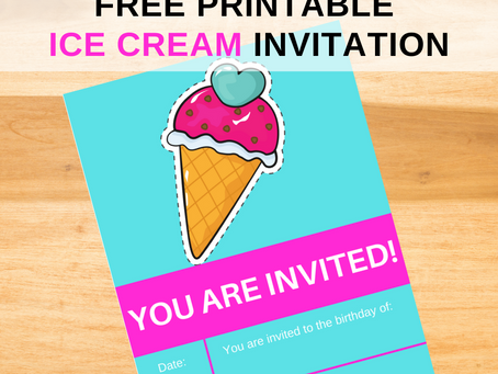 Ice Cream Invite | Free Printable Ice Cream Invitation | Ice Cream Themed Birthday Party Ideas