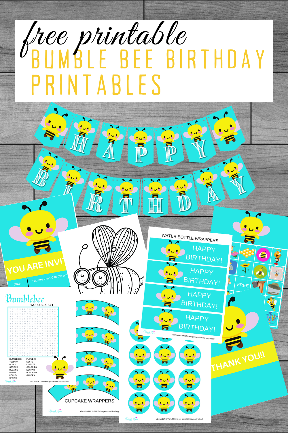bumble bee first birthday party kit for toddler birthday