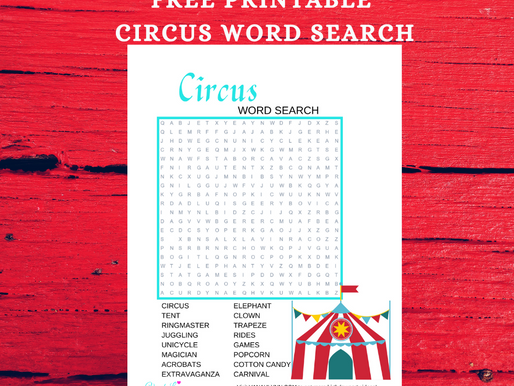 Circus Word Search | Free Printable Circus Themed Activity Sheet For Kids | Circus Word Find