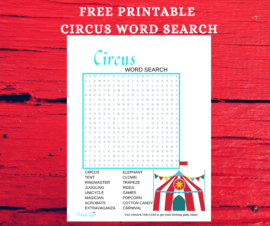 circus word search for a kids birthday party