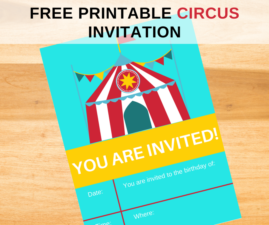 circus themed birthday party invitation