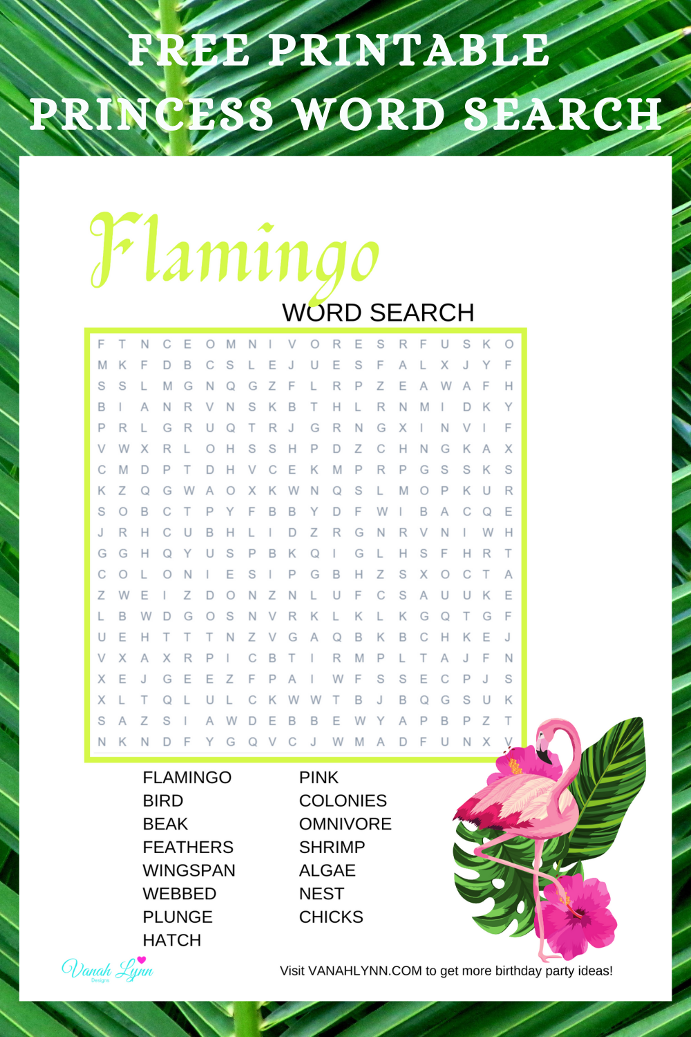 free printable tropical flamingo word find for kids