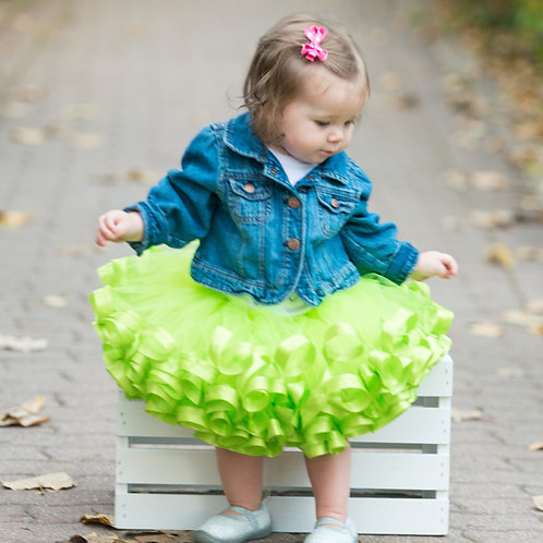 apple green tutu on toddler girl