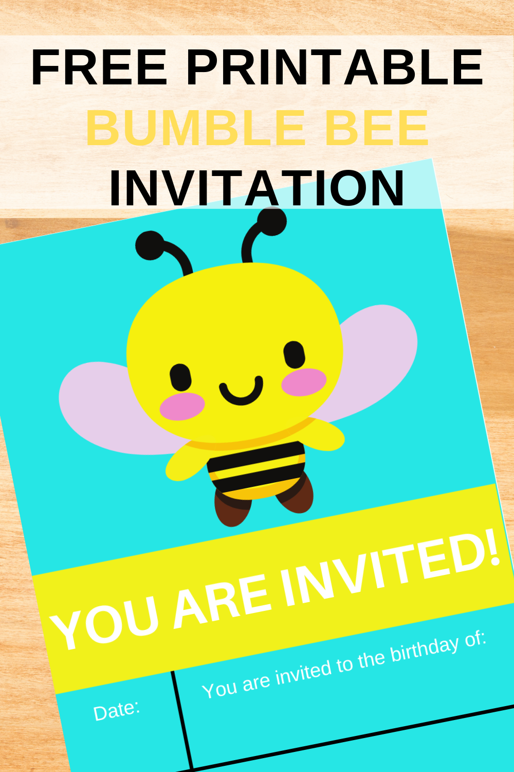 free printable bumble bee birthday party invite