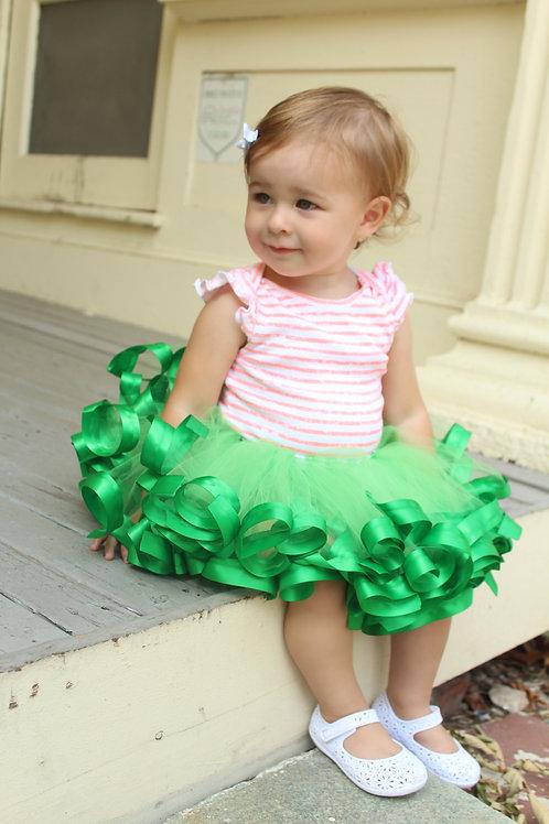 emerald green tutu on little girl