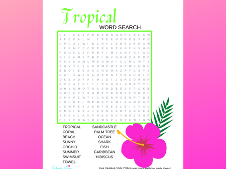 Tropical Word Search | Free Printable Tropical Themed Activity Sheet | Tropical Word Find for Child
