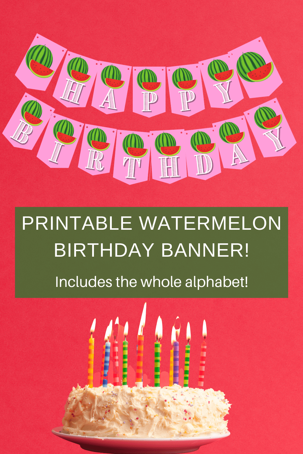 watermelon happy birthday banner