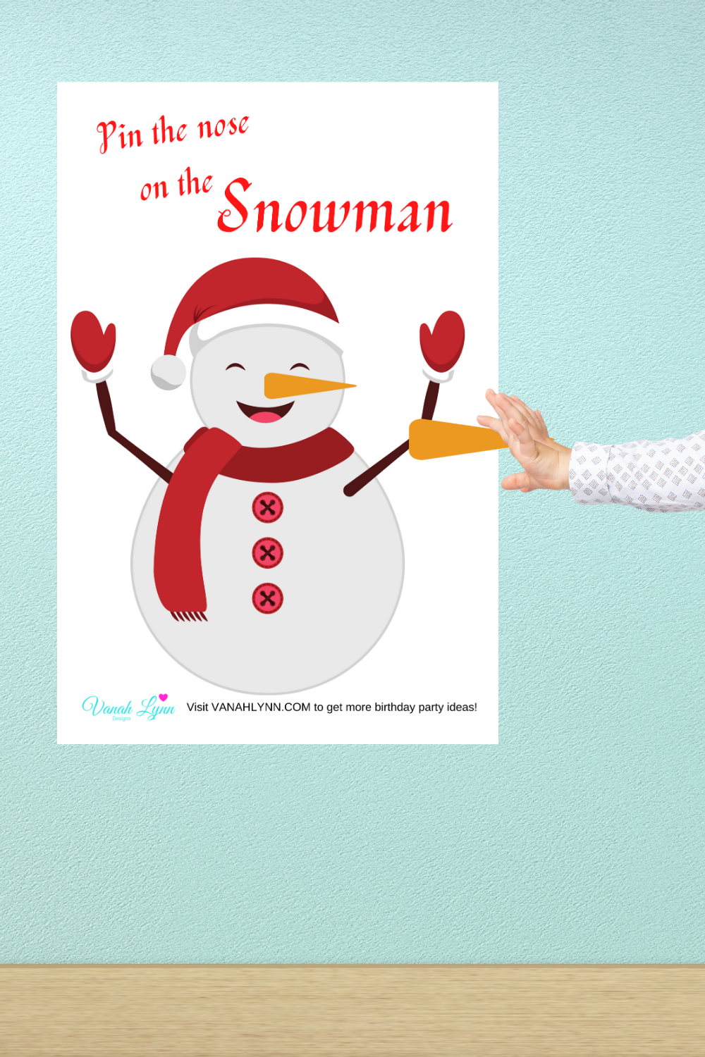 pin the nose on the snowman winter game