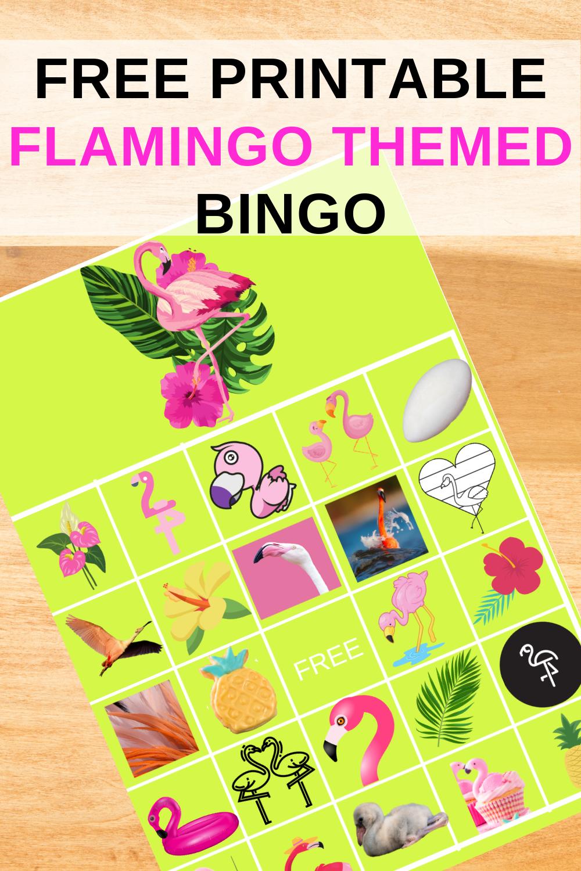 tropical flamingo birthday party bingo game