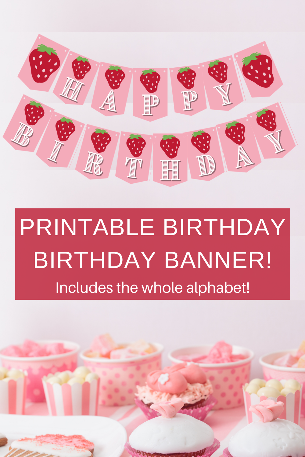 strawberry themed birthday party decorations for a first birthday