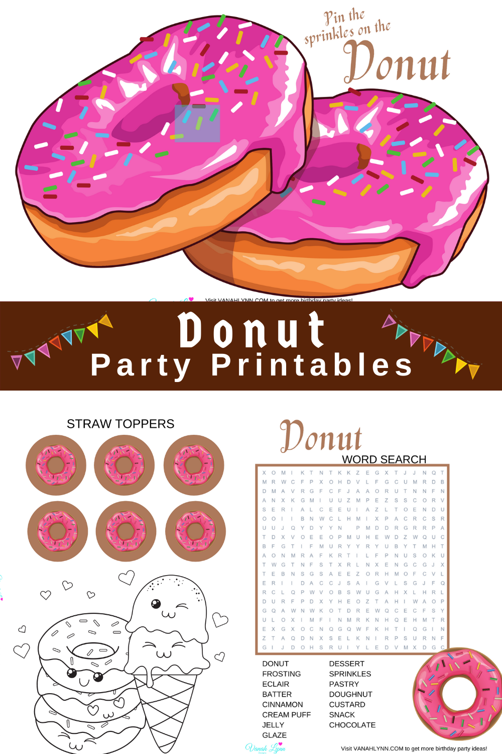 donut 1st birthday party decorations for kids birthday party