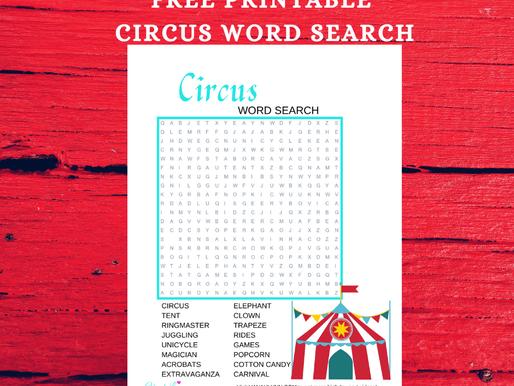 FREE Circus Word Search Printable