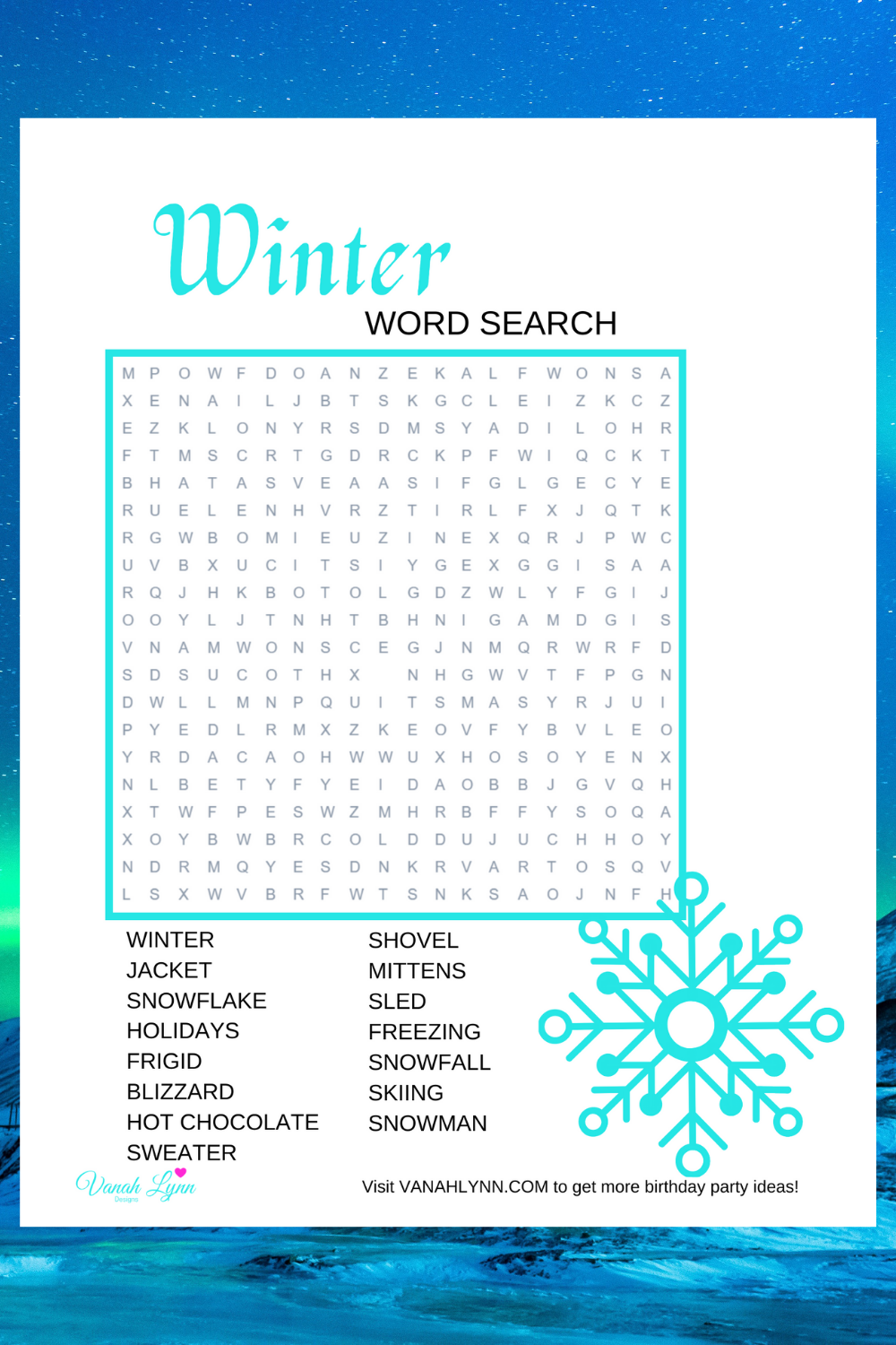 free download: winter activity sheet for a birthday party