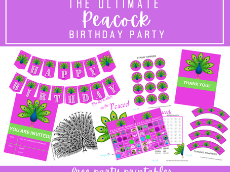 The Ultimate Peacock Birthday Party | Free Printable Party Pack | Invites | Activities | Banner...
