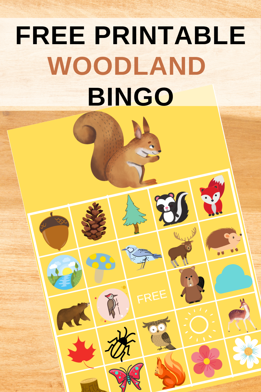 rustic animal bingo game for a birthday party