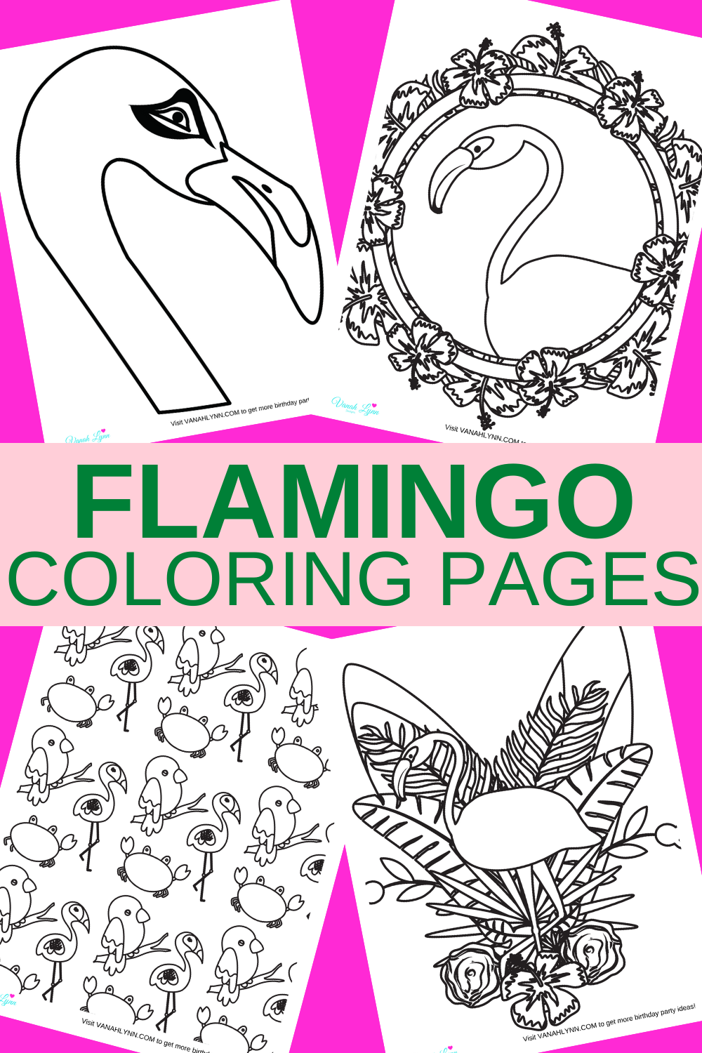tropical flamingo 1st birthday coloring pages