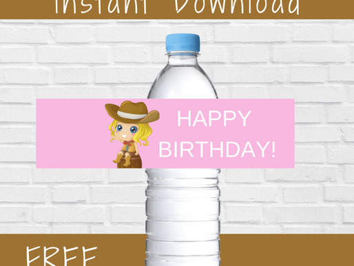 FREE Cowgirl Birthday Party Decoration Ideas - Water Bottle Label