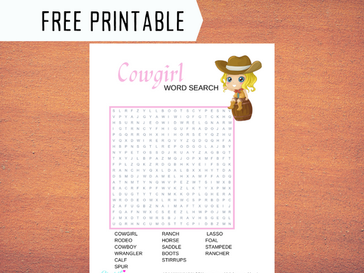Cowgirl Word Search | Free Printable Cowgirl Themed Activity Sheet | Cowgirl Birthday Party Ideas