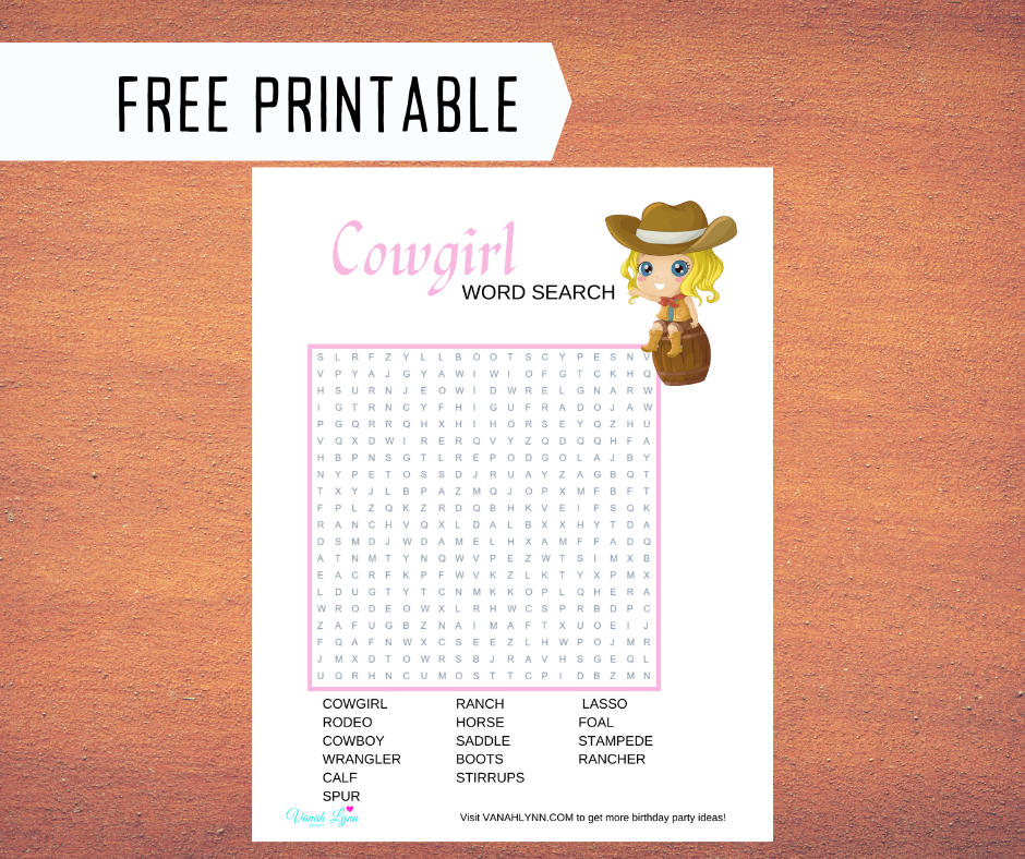 cowgirl word search for a kids birthday party