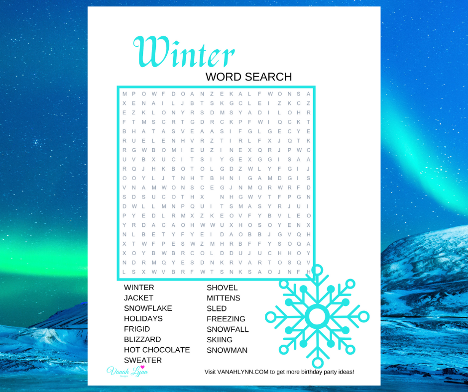 winter word search for little girls birthday party
