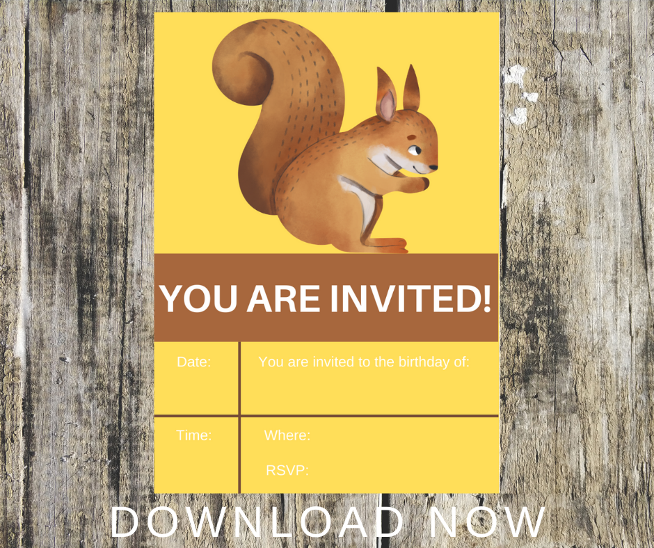 woodland animal birthday party invitations for kids