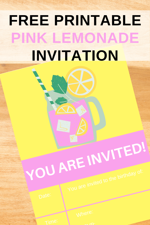 first birthday party pink lemonade birthday invitation
