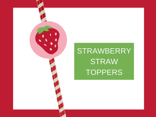 Strawberry Straw Toppers | Free Printable Strawberry Birthday Party Ideas | DIY Strawberry Décor