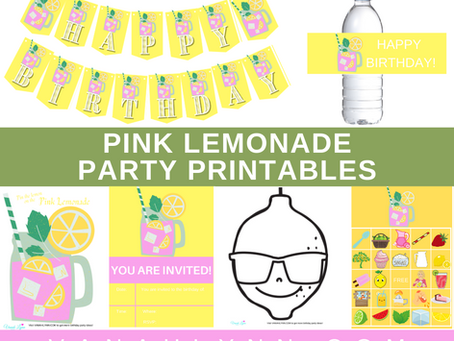 Pink Lemonade Party Kit | Free Printable Pink Lemonade Birthday Party Ideas | Pink Lemonade Décor