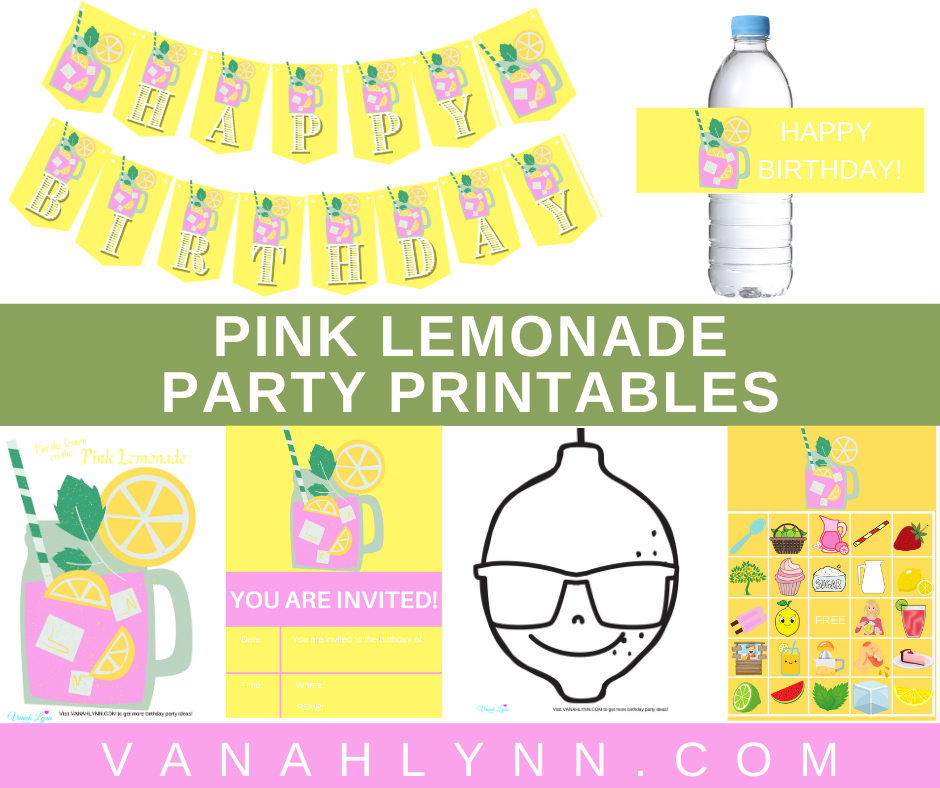 free printable pink lemonade party printables