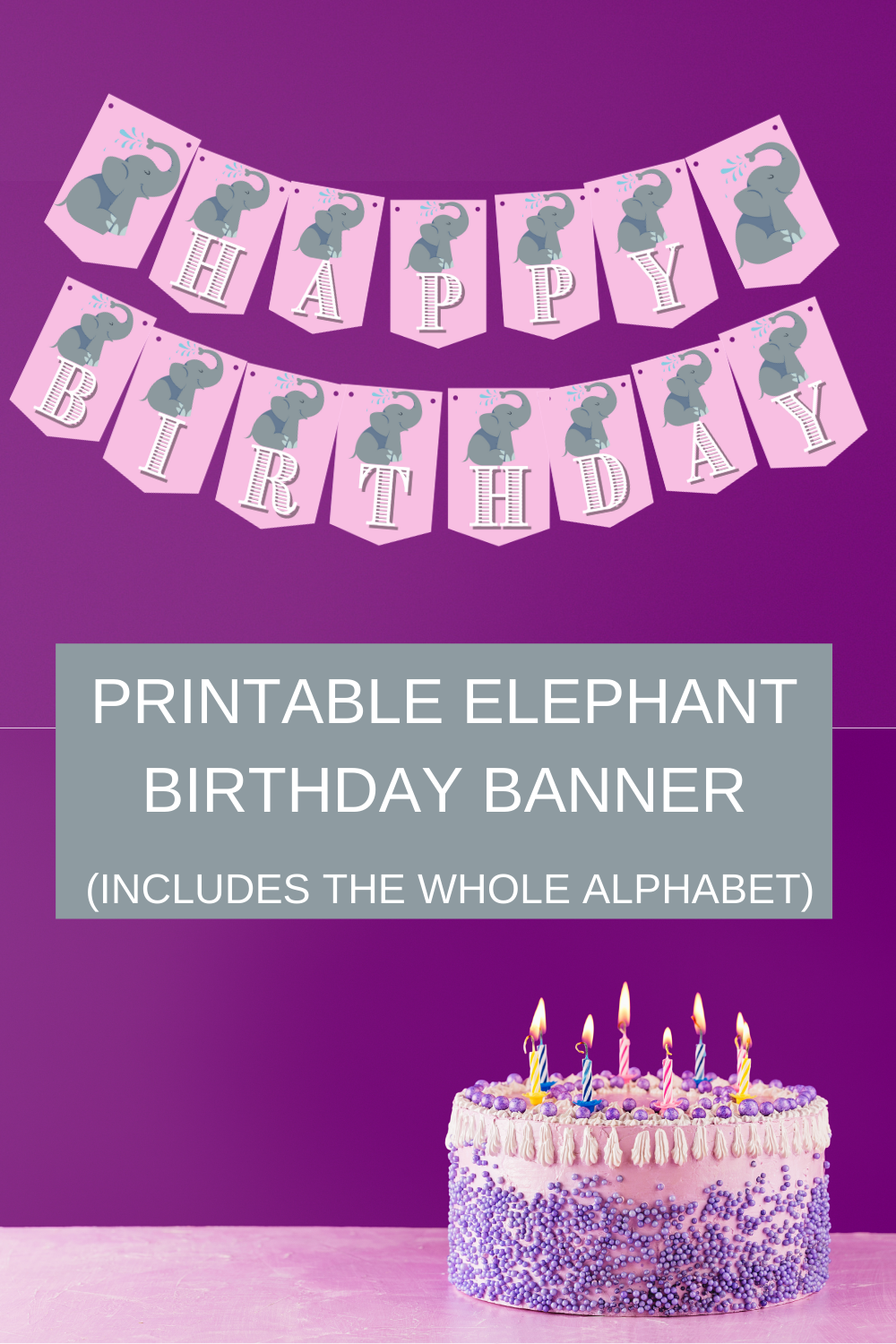pink and gray elephant birthday party decorations
