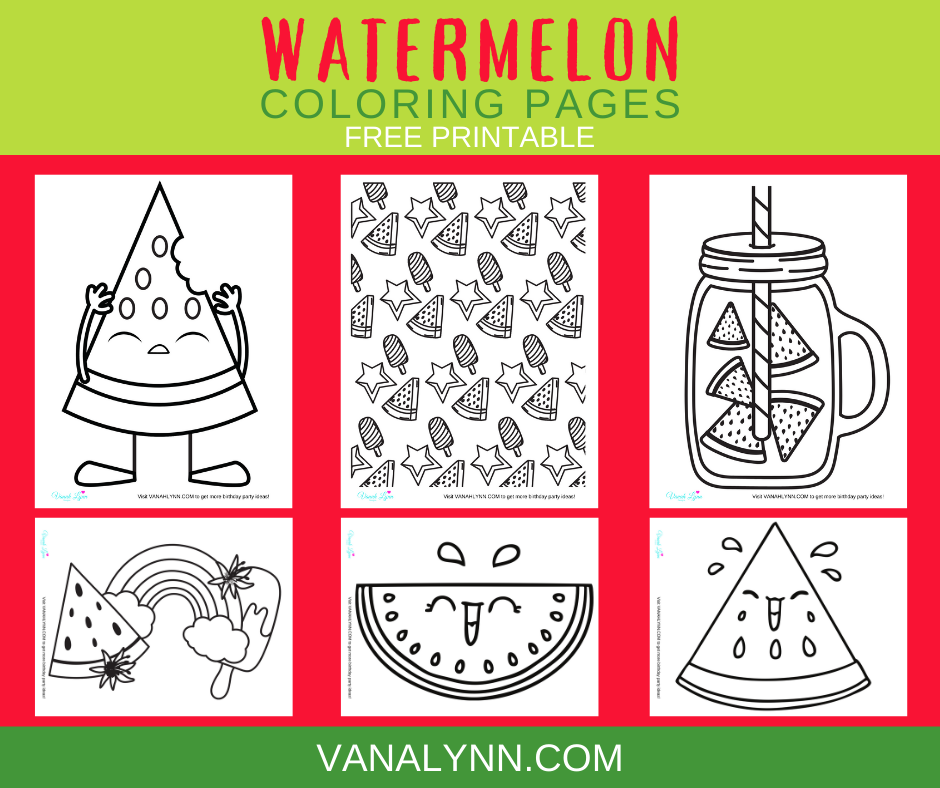 watermelon coloring pages for a watermelon birthday party