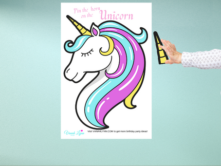 Pin the Horn on the Unicorn | Unicorn Birthday Party Game | Unicorn Theme Party Activity