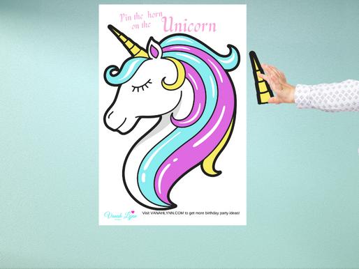 Pin the Horn on the Unicorn   Unicorn Birthday Party Game   Unicorn Theme Party Activity