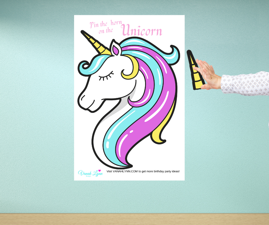 free printable pin the horn on the unicorn party game