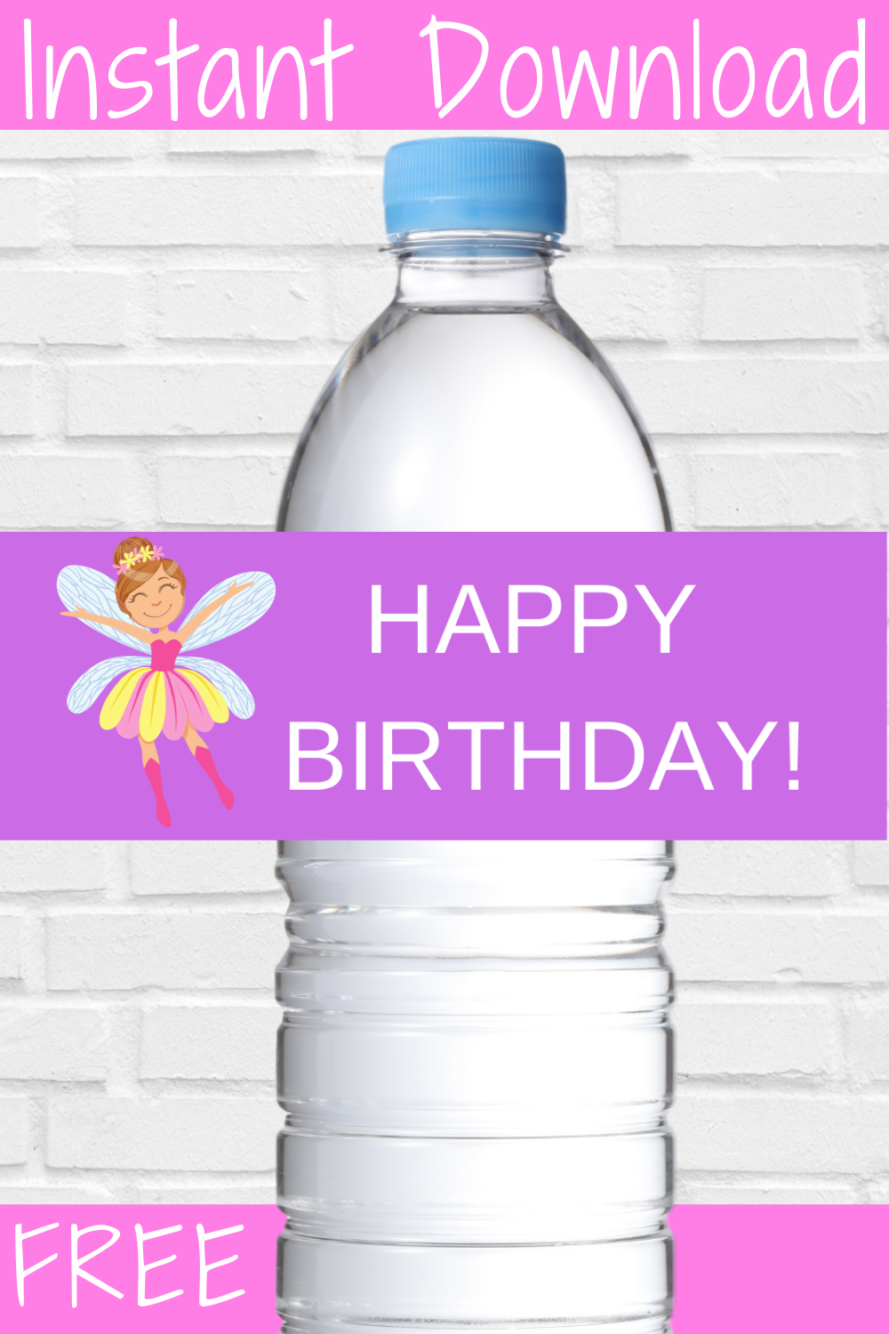 free download: fairy garden water bottle wrapper for birthday party