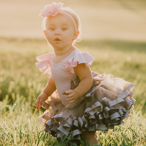 silver tutu skirt on baby girl