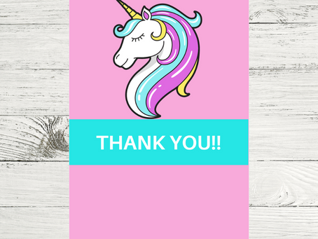 Unicorn Thank You Card | Free Printable Unicorn Thank You Note | DIY Unicorn Birthday Party Ideas