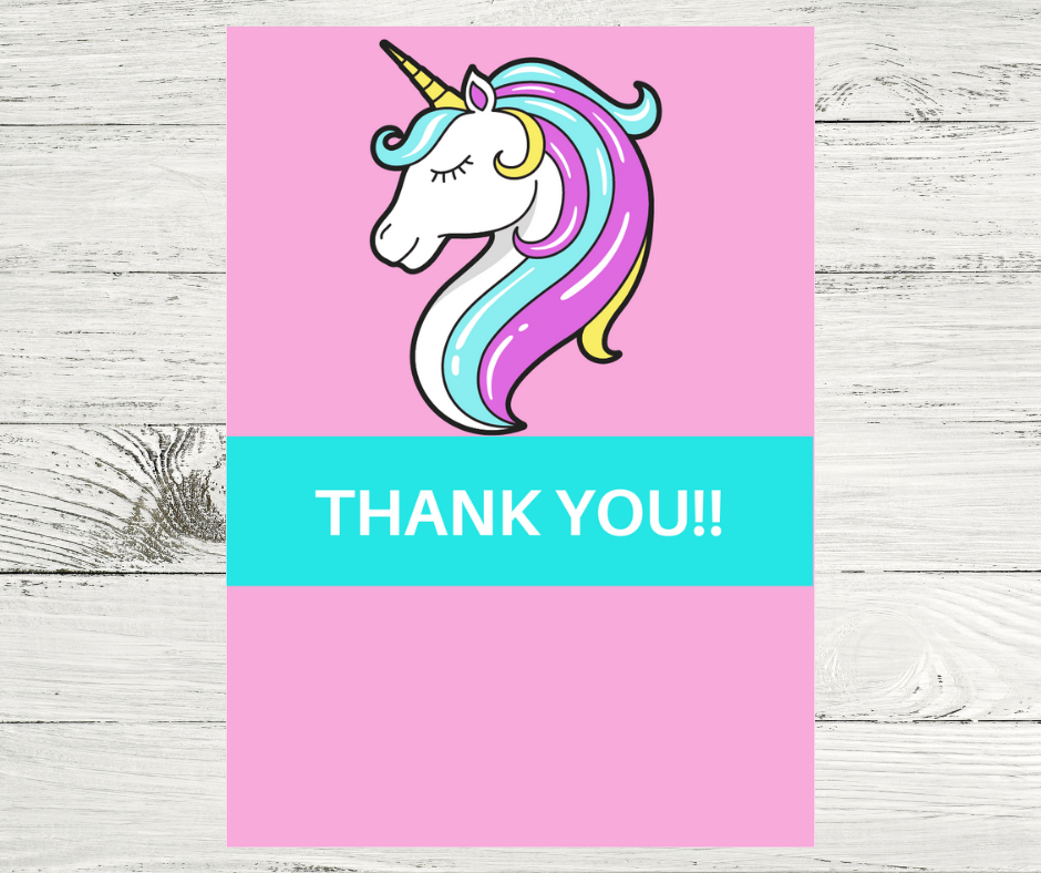 unicorn thank you card for unicorn birthday party