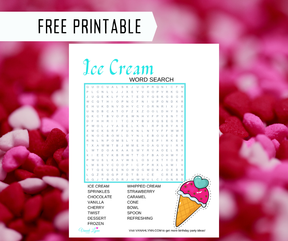 ice cream word search for kids birthday party