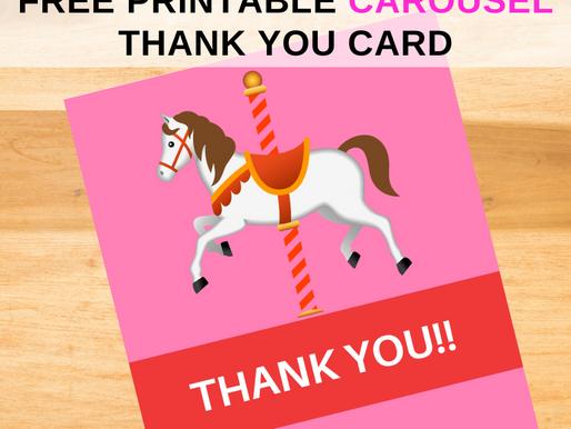 Carousel Thank You Card | Free Printable Carousel Themed Thank You Note | DIY Carousel Party Ideas