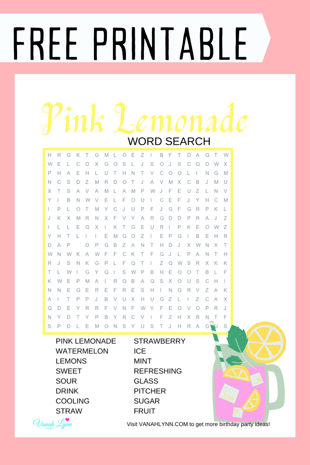 free download: pink lemonade activity pages for kids