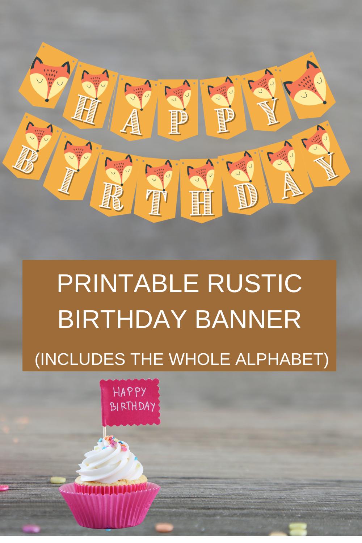Brown rustic birthday decorations, free printable