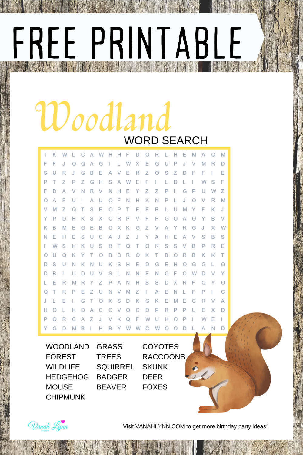 free printable woodland animal word find for kids