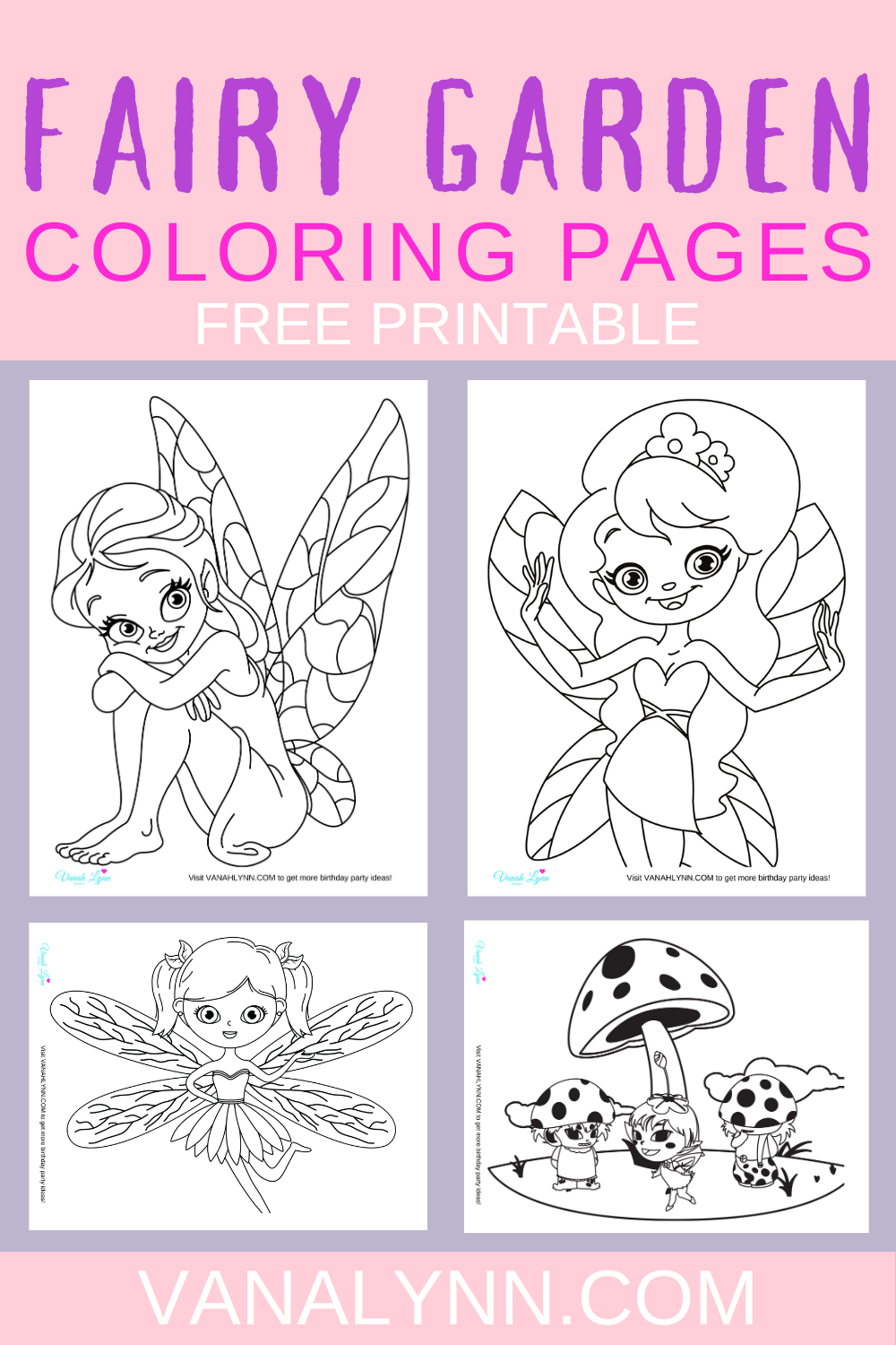 free download: Fairy garden coloring sheets for toddlers