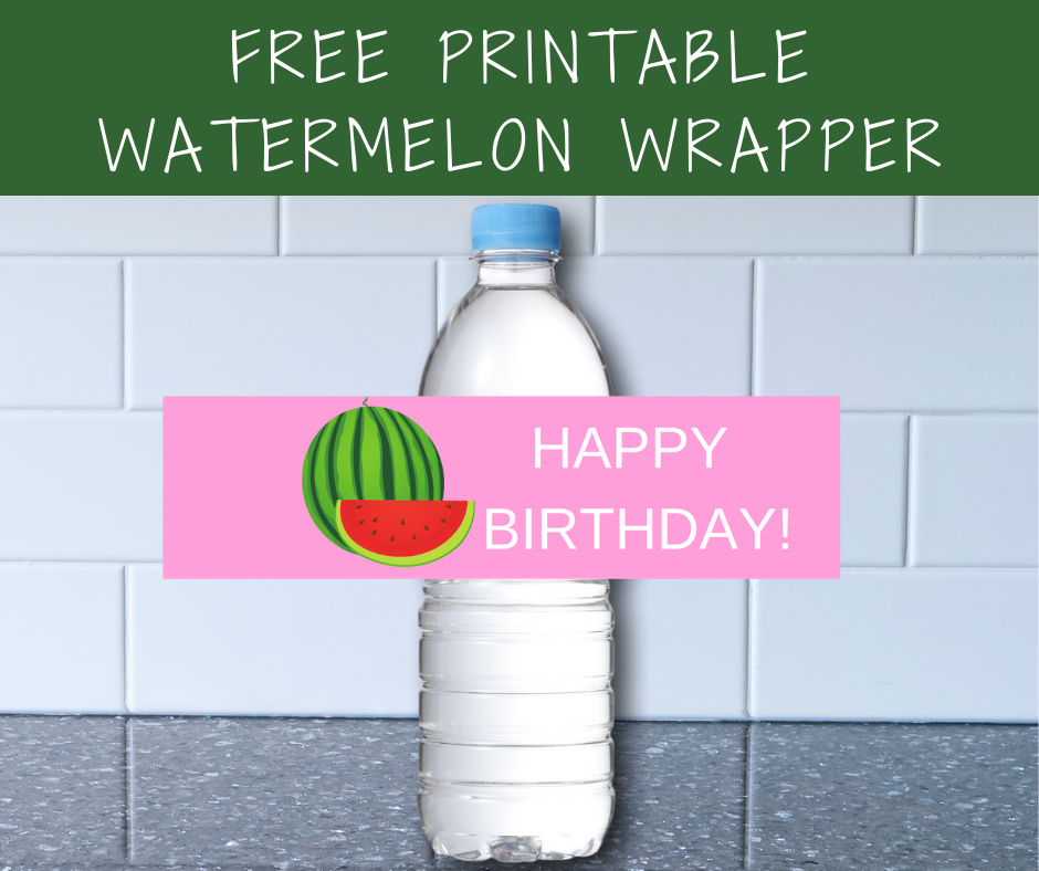 watermelon water bottle label for girls birthday party
