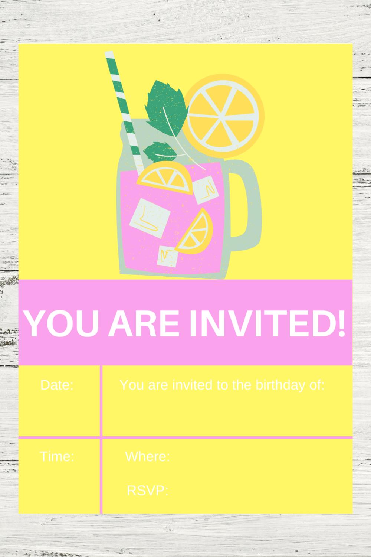 free printable pink lemonade themed birthday party invite
